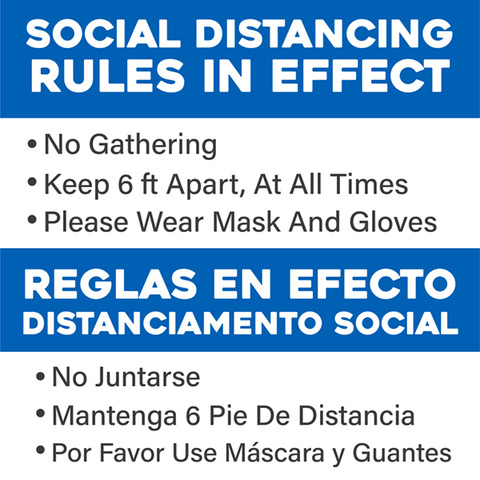 Social distancing Rules in English/Spanish
