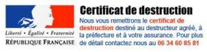 certificat de destruction