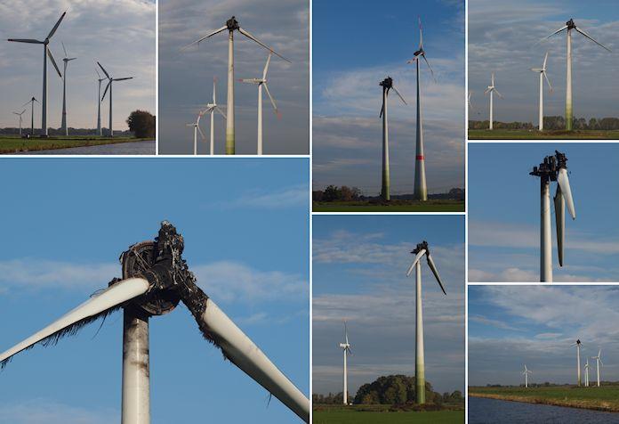 In der Nacht von Freitag auf Samstag (12. Oktober 2013) ist in Sande bei Wilhelmshaven (Landkreis Friesland) eine Windkraftanlage ausgebrannt. - <em>Fotos: Hans Sehringer</em>