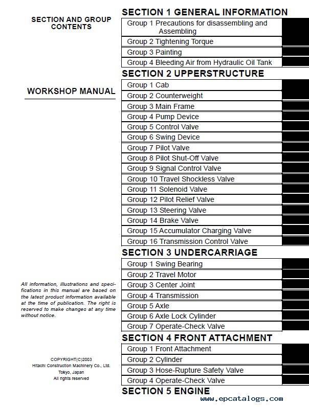 Hitachi Wheeled Excavator Zaxis 130W Workshop Manual