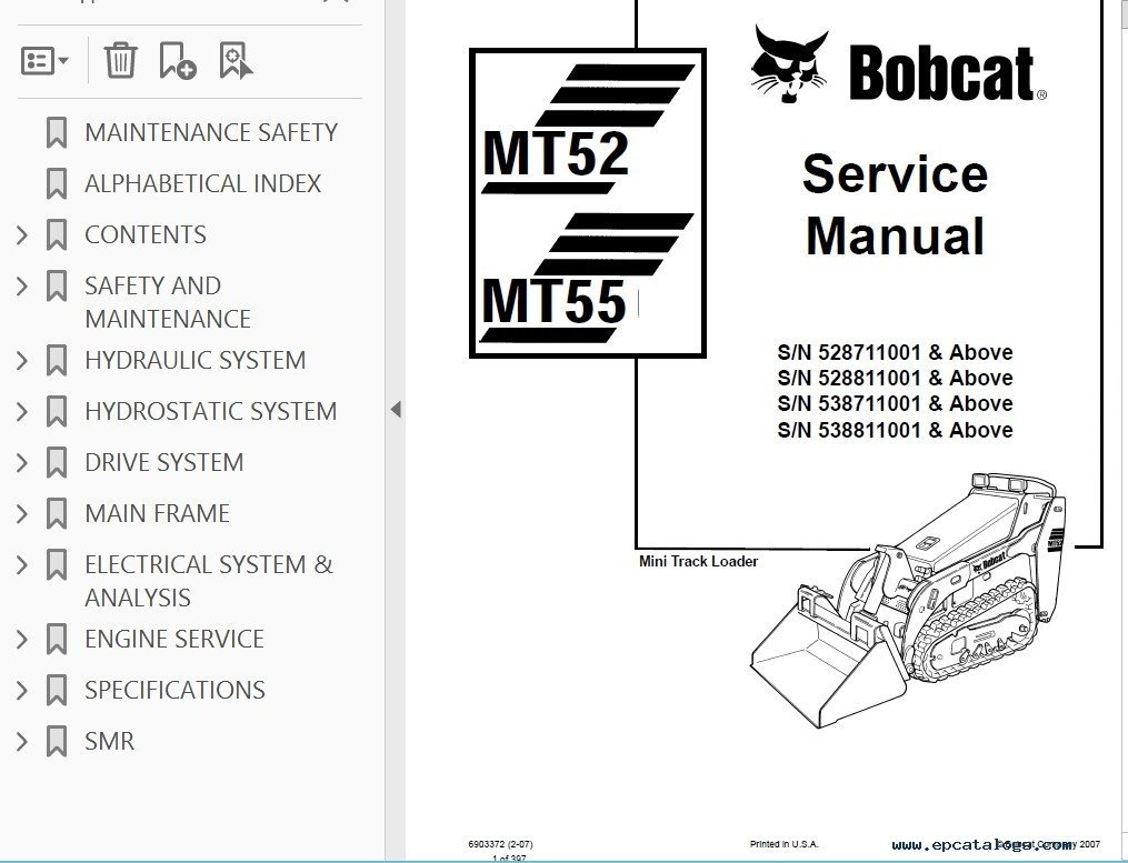 Bobcat MT52, MT55 Mini Track Loader Service Manual PDF