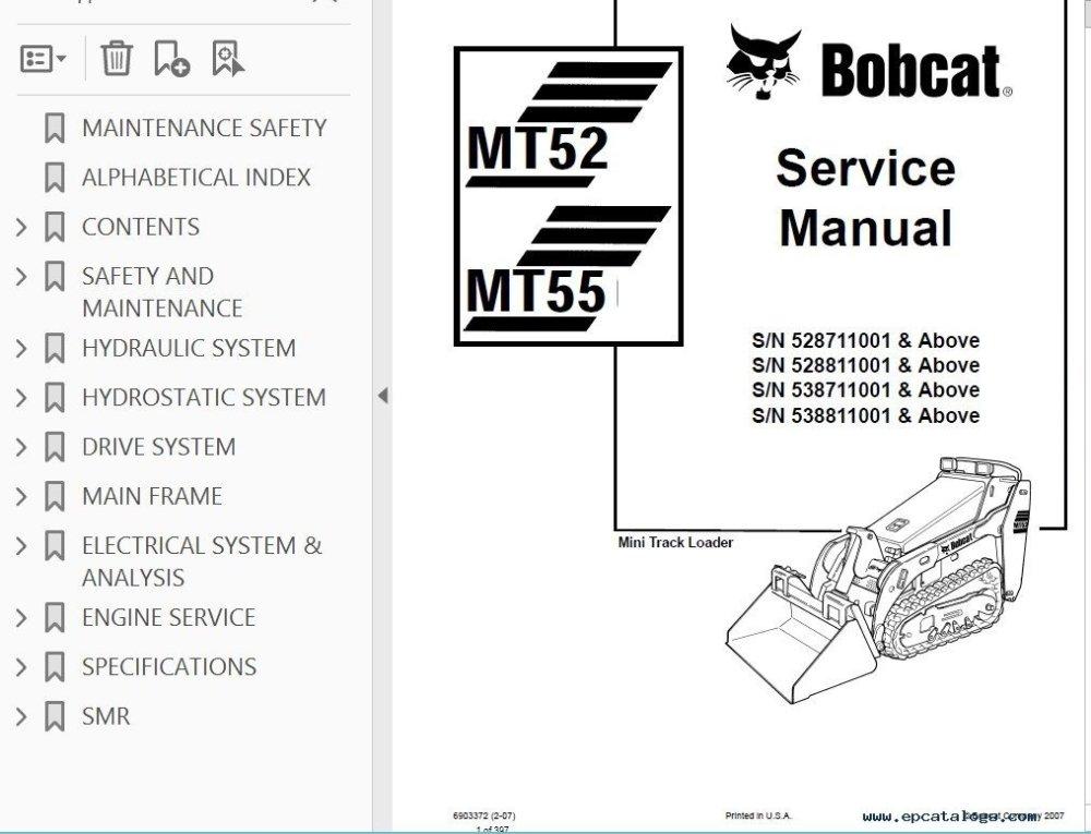 medium resolution of repair manual bobcat mt52 mt55 mini track loader service manual pdf 3