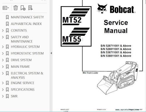small resolution of repair manual bobcat mt52 mt55 mini track loader service manual pdf 3