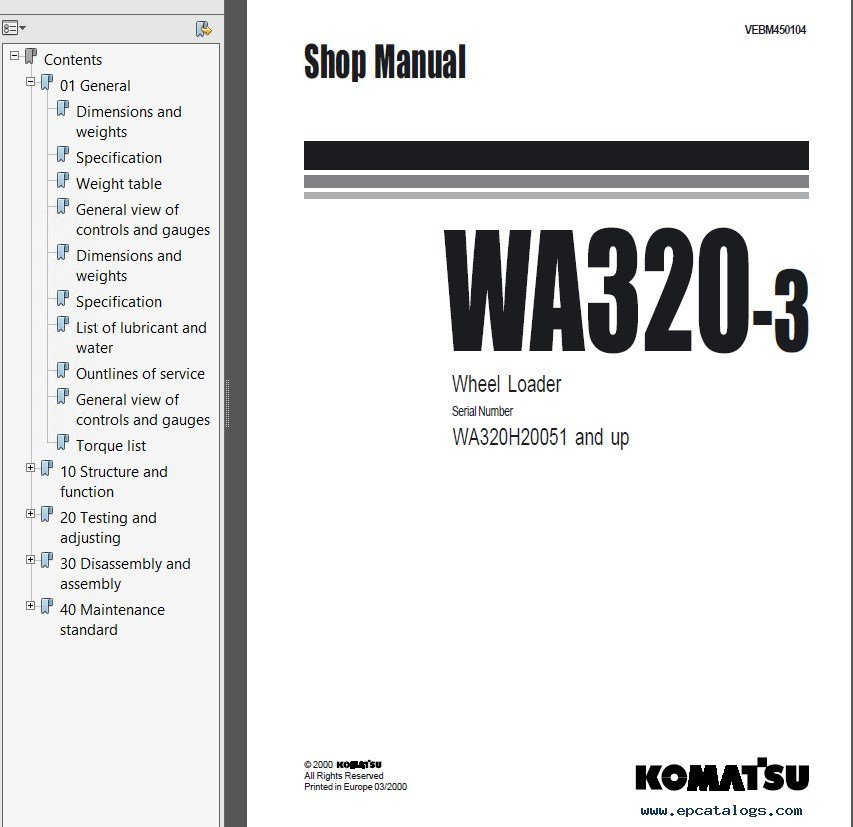 Komatsu WA320-3 WA320-5 WA320-5H Wheel Loaders PDF