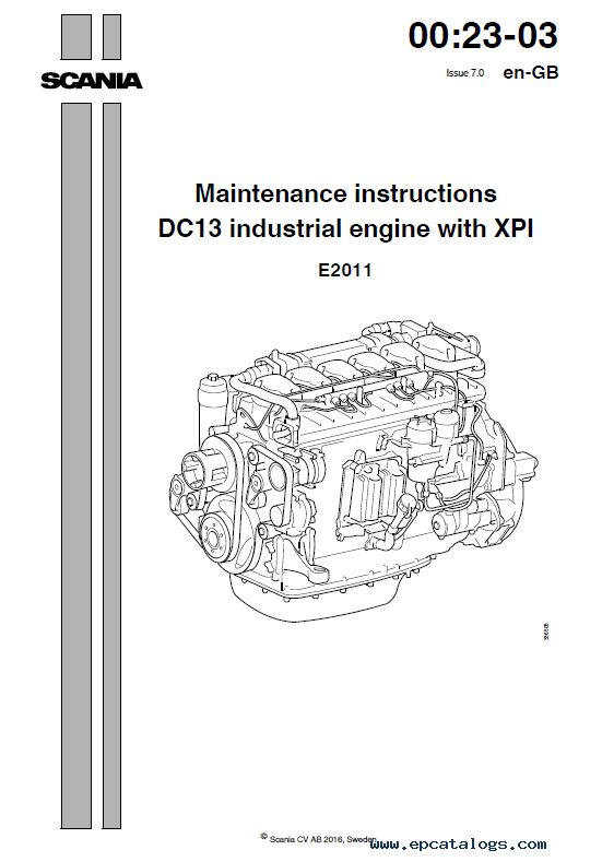 Scania DC09/DC13 Industrial engines XPI Instructions and