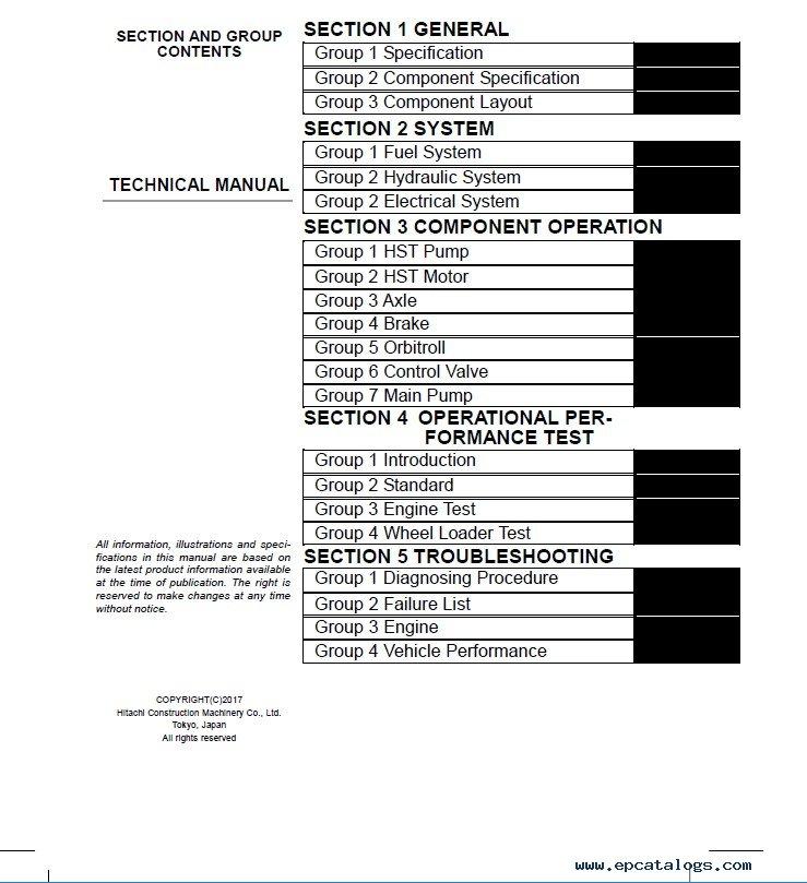 Download Hitachi Wheel Loader ZW50 Technical Manual PDF