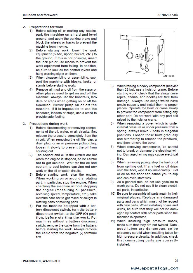 Komatsu Wheel Loader WA800-3EO, WA900-3EO Manual