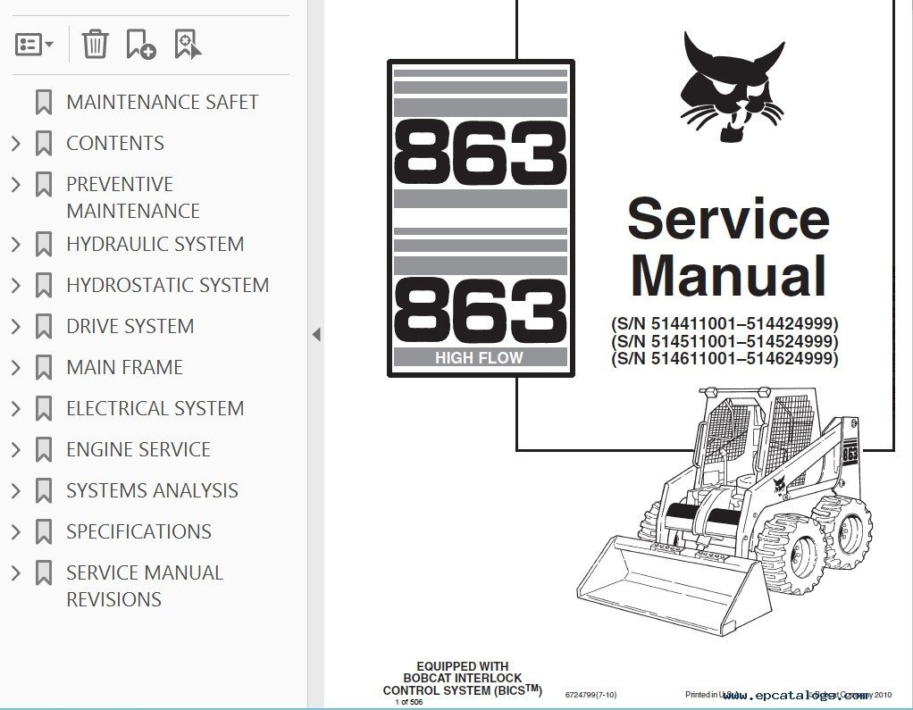 Bobcat 863, 863HF Skid Steer Loaders Service Manual PDF