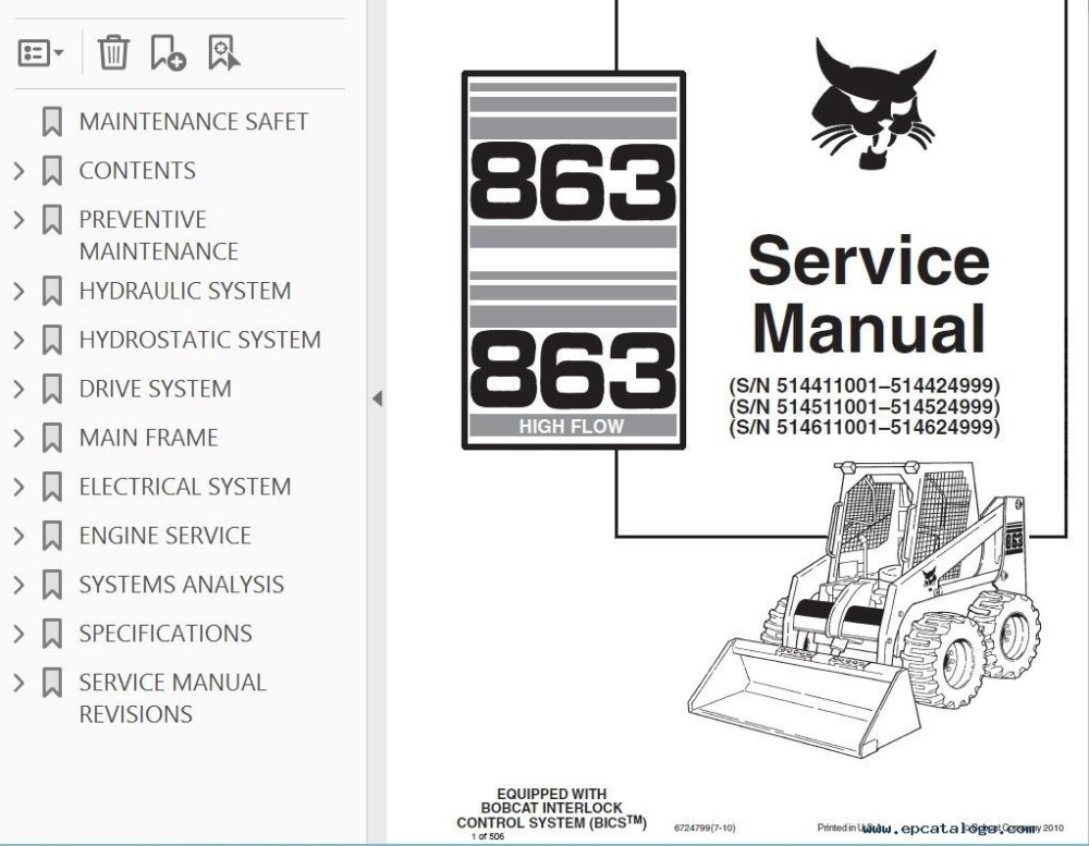 medium resolution of bobcat 863 863hf skid steer loaders service manual pdfrepair manual bobcat 863 863 high