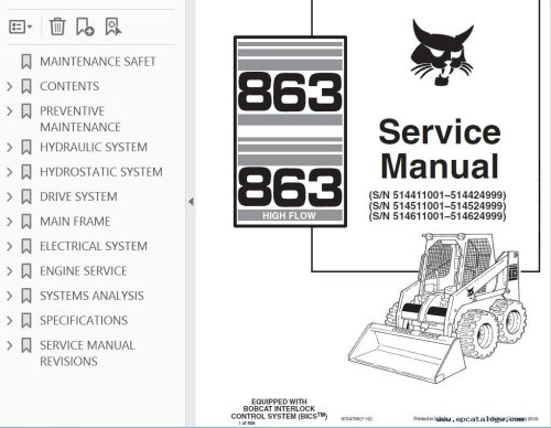small resolution of bobcat 863 863hf skid steer loaders service manual pdfrepair manual bobcat 863 863 high