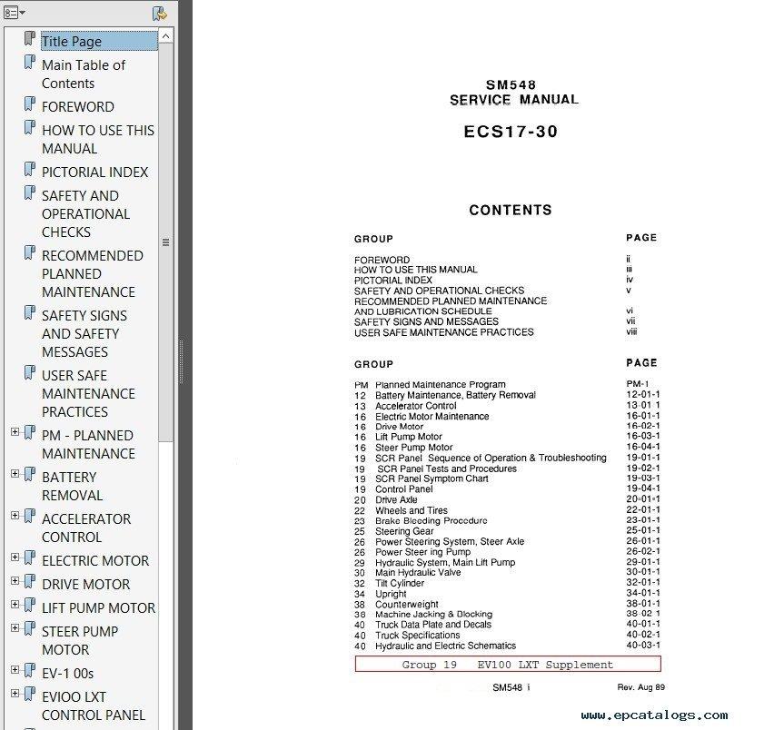 Clark E357 SM581 Service Manual PDF