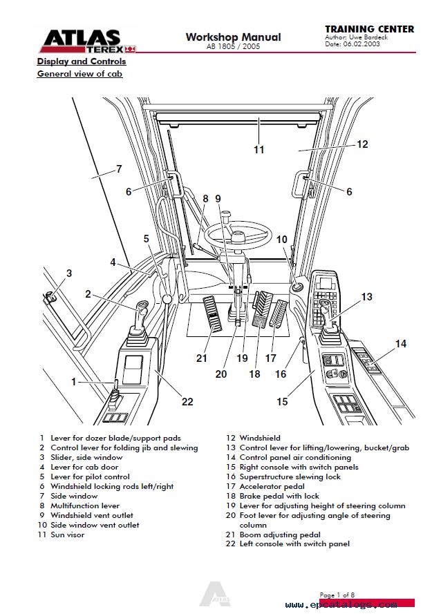 Terex Atlas Excavator AB 1805/2005 Workshop Manual PDF