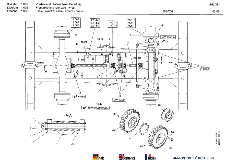 Terex MHL 331 Mobile Hydraulic Loading Machine Parts Catalog