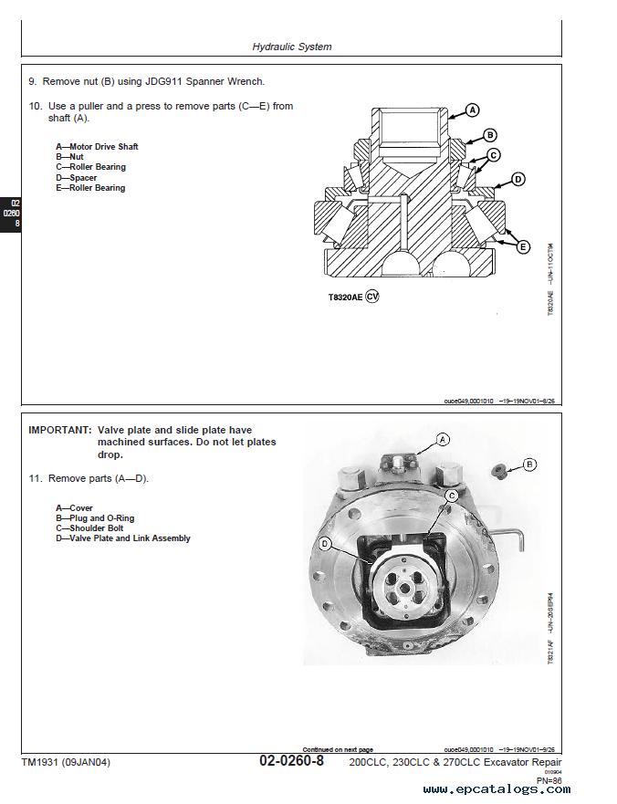 John Deere Excavator 200/230/270 CLC TM1931 Technical