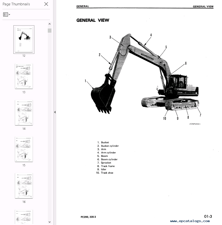 Komatsu Excavators PC200-210-220-240-280-3 PDF Repair Manuals