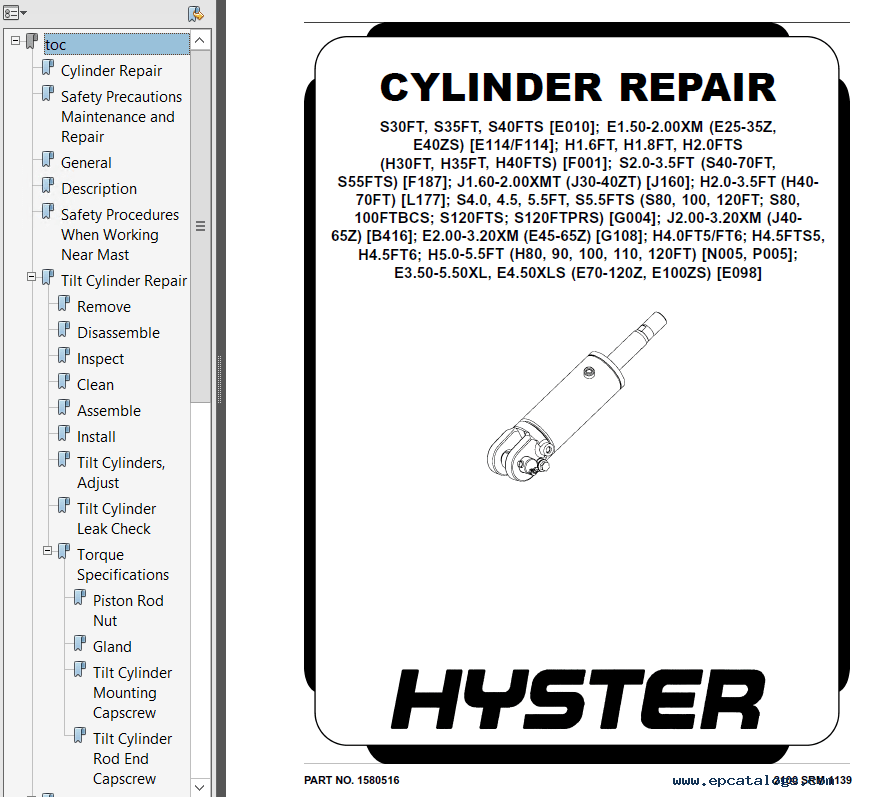 Hyster Class 4 F187 S2.0FT-S3.5FT Europe Truck PDF Manual