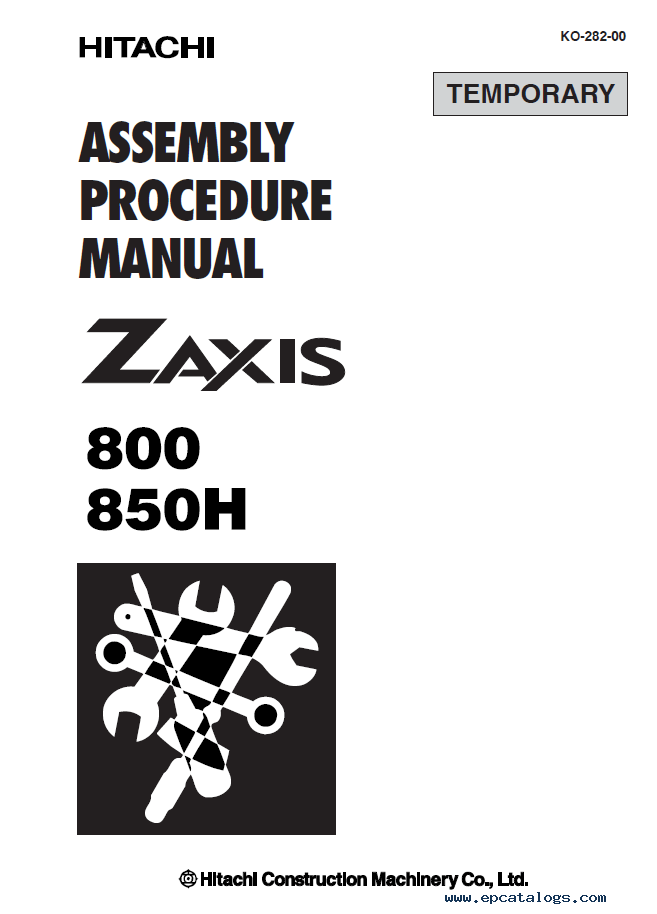 Hitachi ZX800 & ZX850H Excavators Set of PDF Manuals