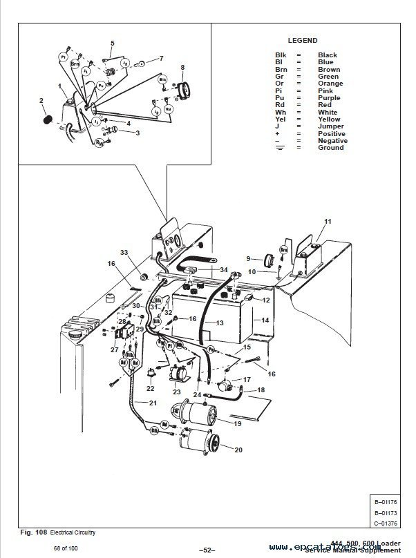 Bobcat Supplement 444 500 Early 600 Loader Service Manual