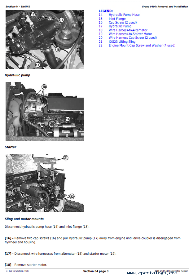 John Deere 35D and 50D Excavator Repair Technical Manual PDF