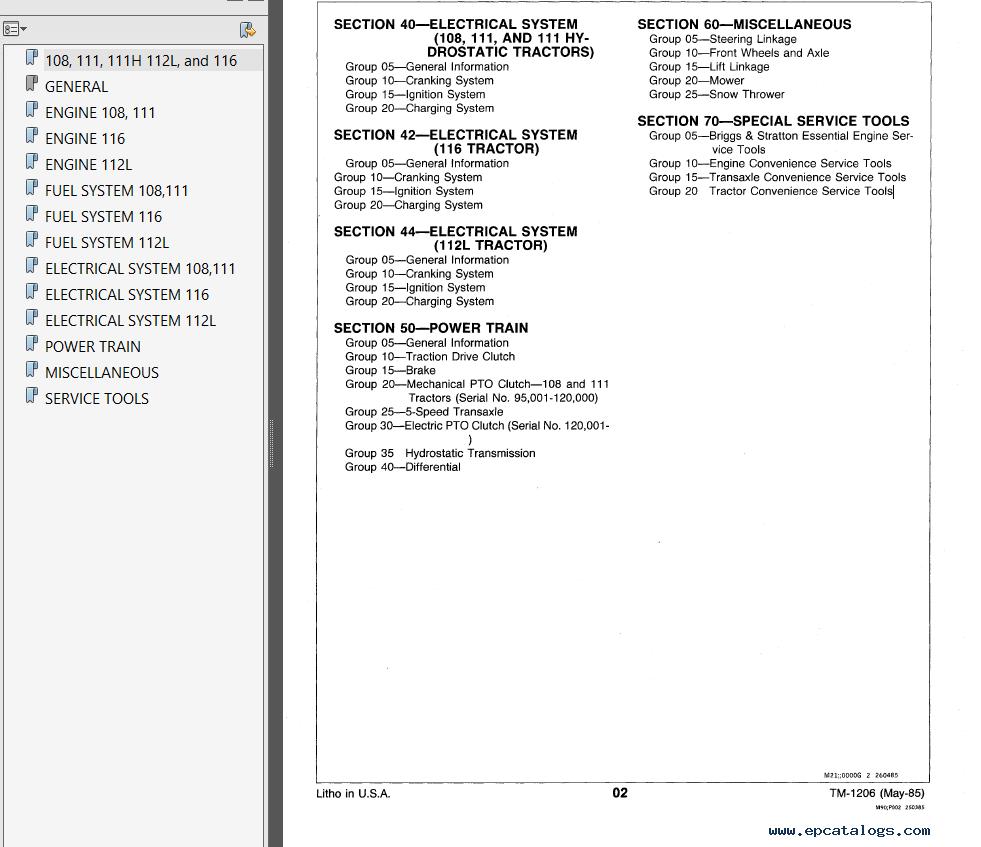 hight resolution of repair manual john deere 108 111 111 112l 116 lawn ractors technical manual tm1206 pdf