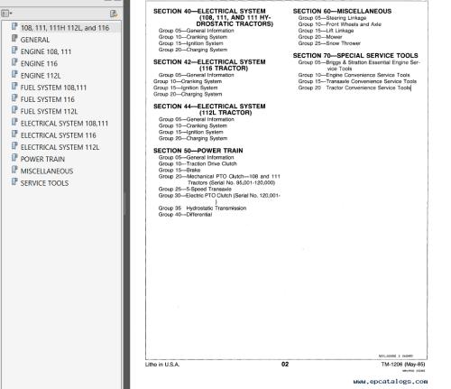 small resolution of repair manual john deere 108 111 111 112l 116 lawn ractors technical manual tm1206 pdf