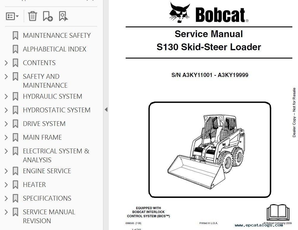 Bobcat S130 skid steer hydraulic schematic wiring diagram