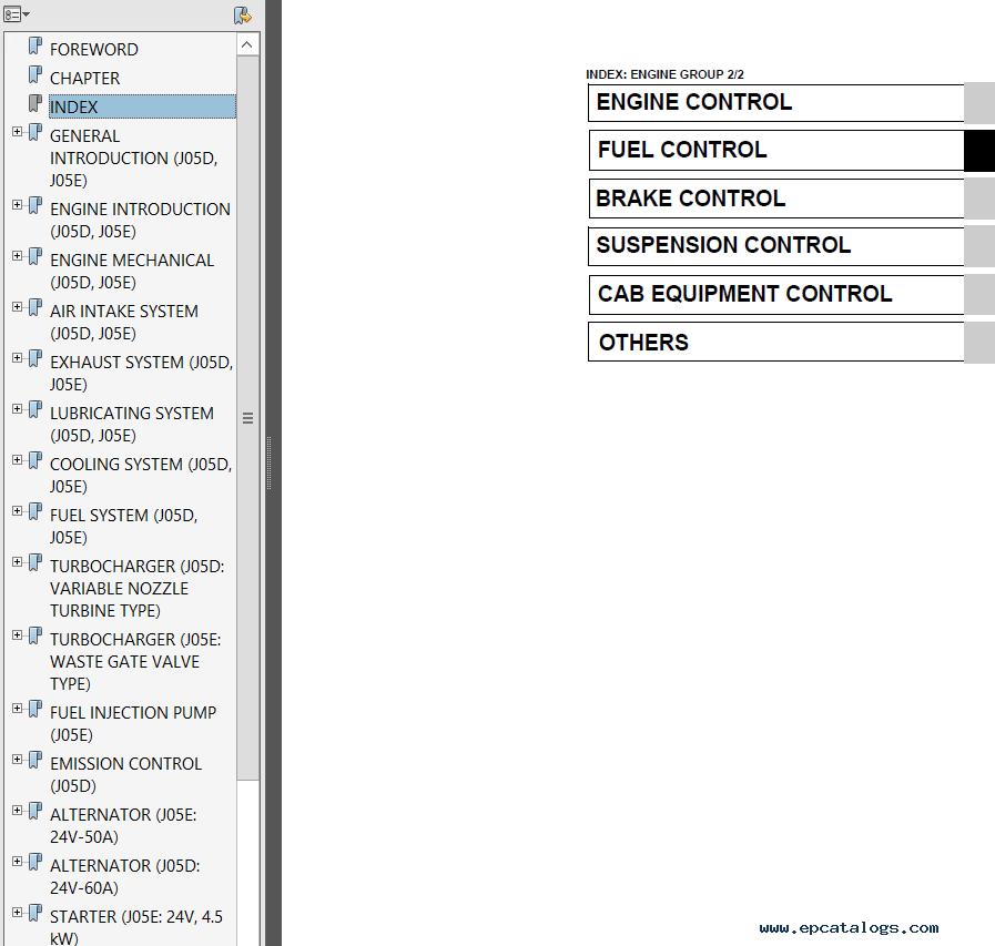 Hino J05D-TI, J05E-TI Engines Workshop Manual PDF