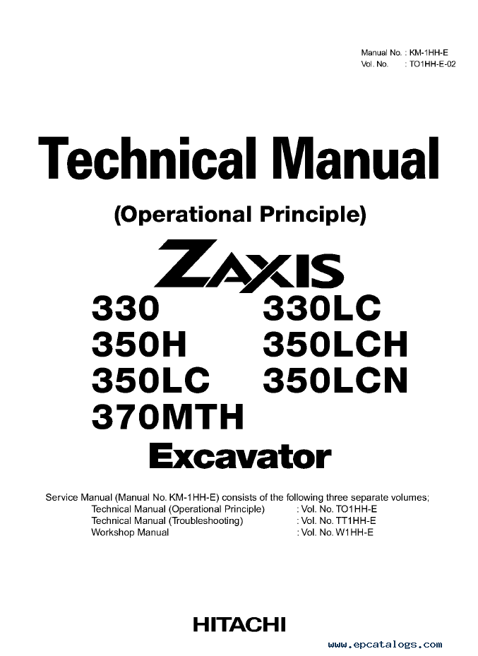 Hitachi 330/LC 350H/LCH 370MTH Excavator Workshop Manuals PDF