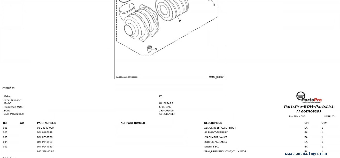 Freightliner Argossy H110064S T Spare Parts Catalog Download