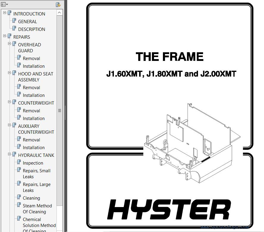 Hyster Class 1 D160 J1.60-2.00XMT Motor Rider Trucks PDF