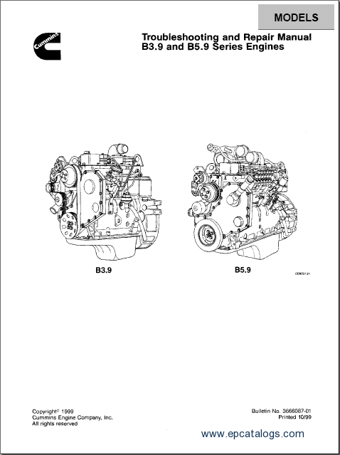 Cummins Engine B3.9 and B5.9 Series, repair manual, Engines