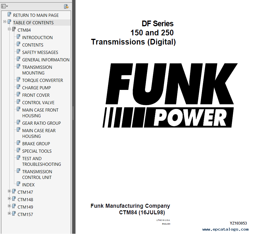 Funk Power DF Series 150 & 250 Transmission PDF Manuals