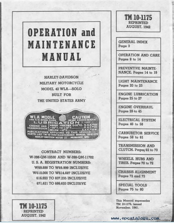 Harley Davidson 42WLA-Solo Operation Maintenance PDF