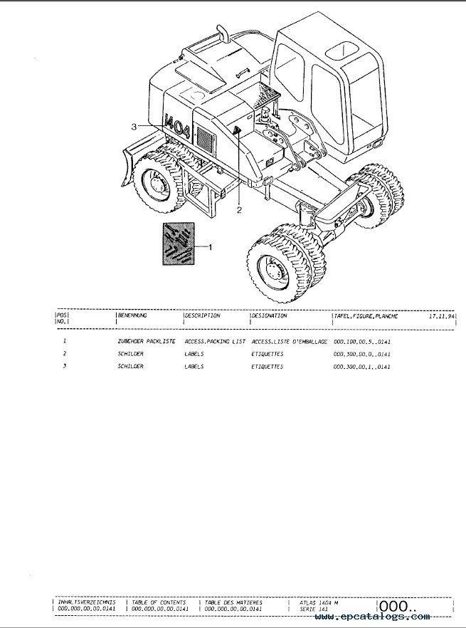 Terex Atlas 1404ZW Excavator Parts Catalog PDF