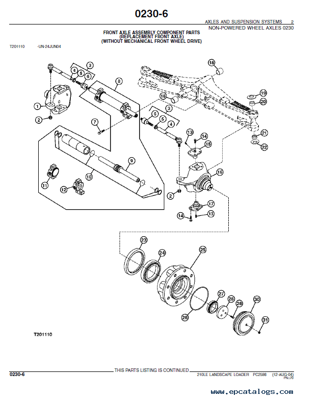 John Deere 210LE Landscape Loader PDF PC2598 Parts Catalog