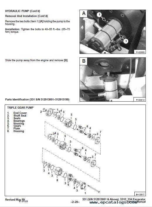 Bobcat X 331, X 331E, X 334 Excavator Service Manual PDF