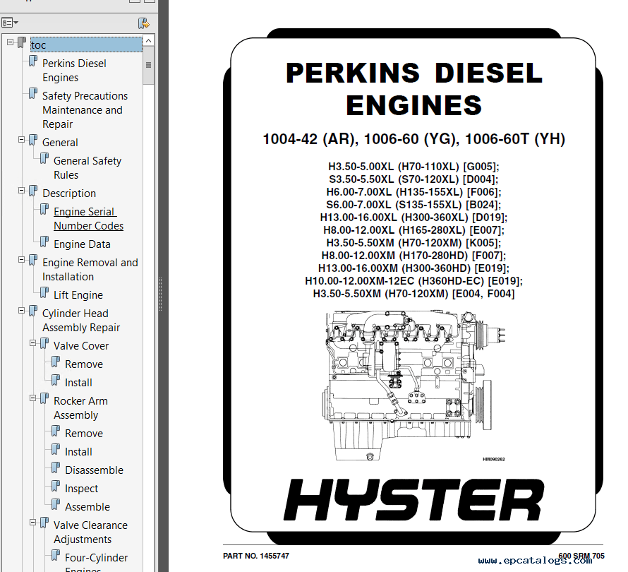 Hyster Challenger H170/190/210230/250/280HD Parts Manual PDF