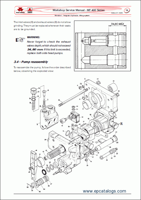 Massey Ferguson tractors 400 series, repair manual, Heavy