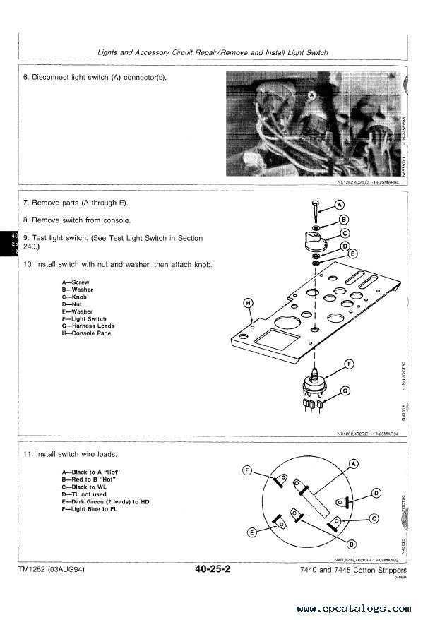 John Deere 7440 & 7445 Cotton Strippers TM1282 PDF Manual