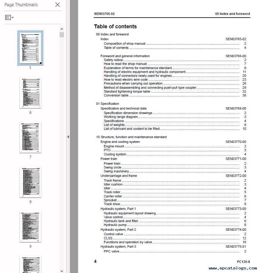hight resolution of repair manual komatsu hydraulic excavator pc130 8 set manuals of pdf 2