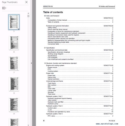 small resolution of repair manual komatsu hydraulic excavator pc130 8 set manuals of pdf 2