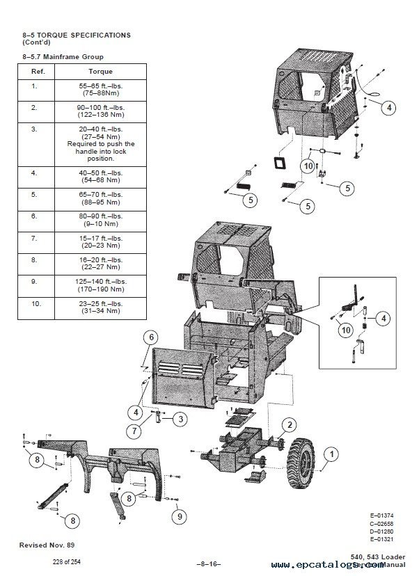Bobcat 540, 543 Loaders Service Manual PDF