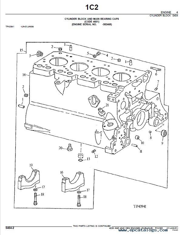 John Deere 4039, 4045 OEM Engines Parts Catalog PDF