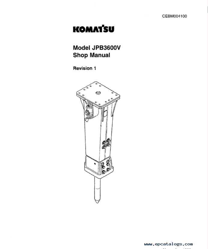 Komatsu Hydraulic Breaker JPB3600V Set of PDF Manuals