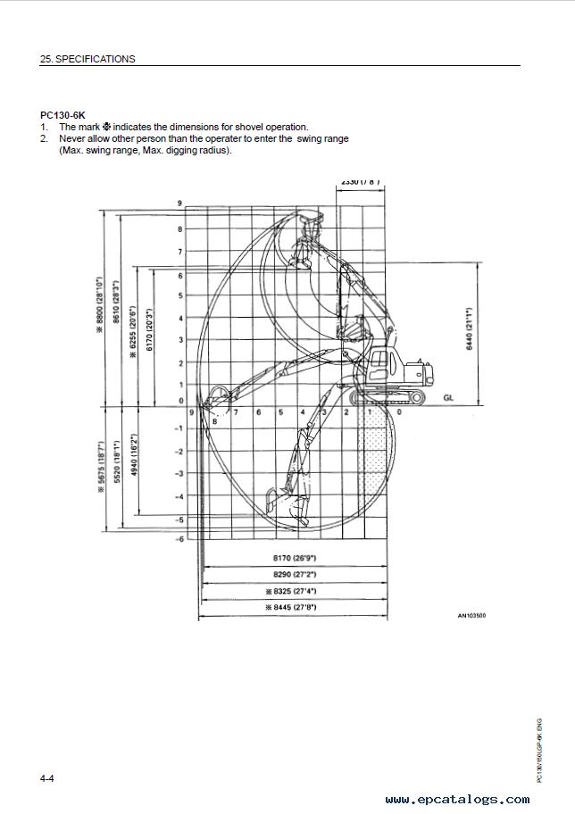 Komatsu Excavator PC130-6K, PC150-LGP-6K Set of Manuals