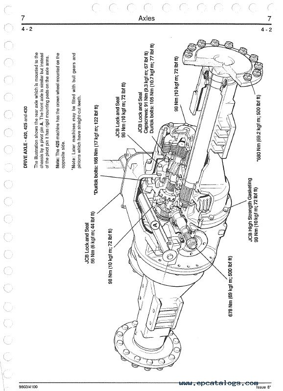 JCB Wheeled Loader 410 412 415 420 425 430 Service Manual