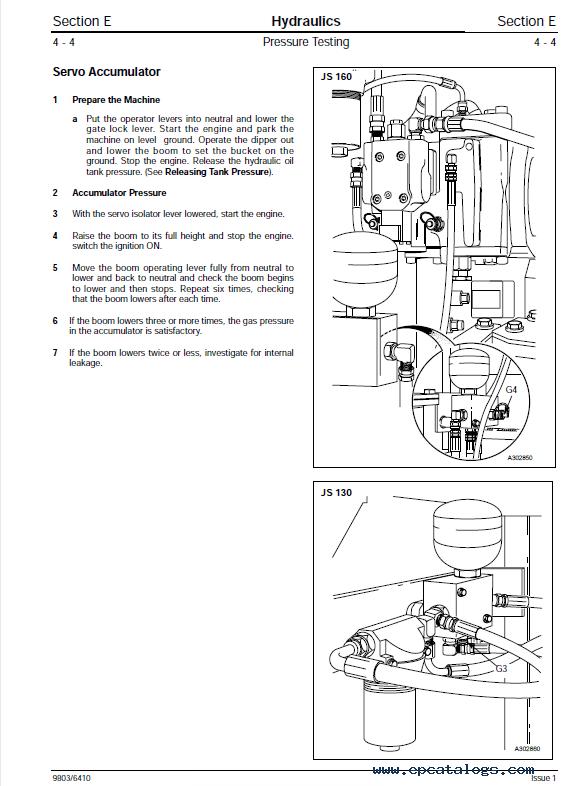 Download JCB JS130 JS160 Tracked Excavators Service Manual PDF