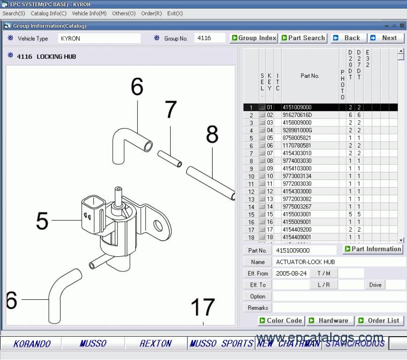 Ssang Yong 2017 Parts Catalog