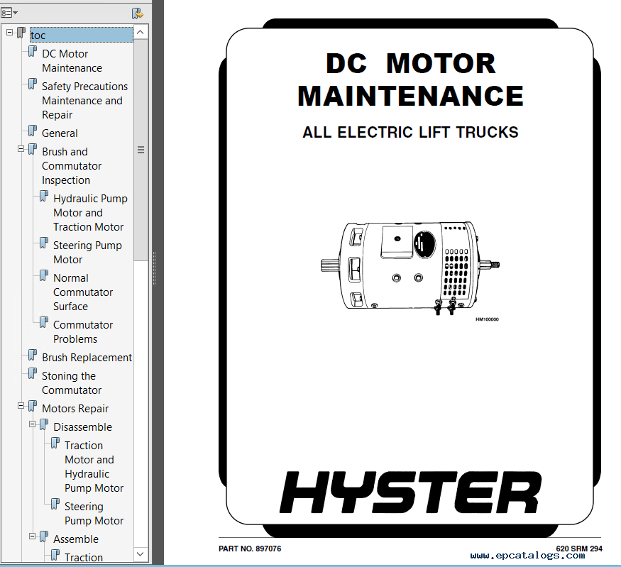 Hyster Class 1 C108 E40-60XL Electric Motor Rider Truck PDF