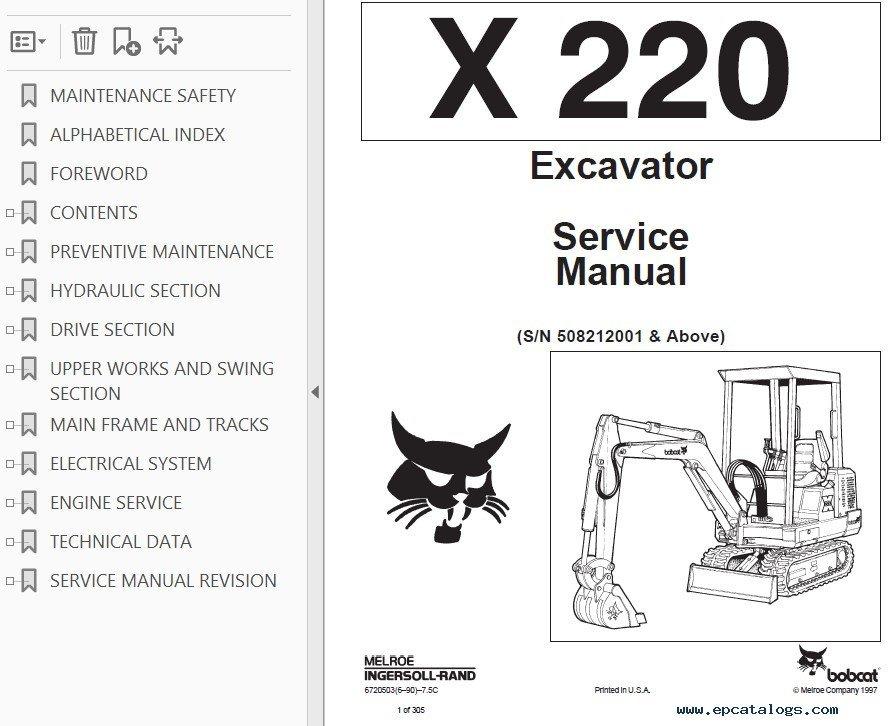 Bobcat X 220 Excavator Service Manual PDF